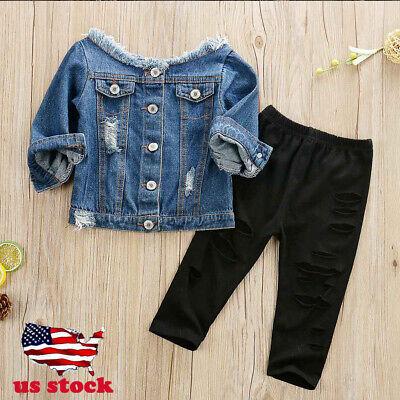 US Toddler Infant Baby Girl Casual Denim Tops T-shirt+Leggings Hot Pants Outfit