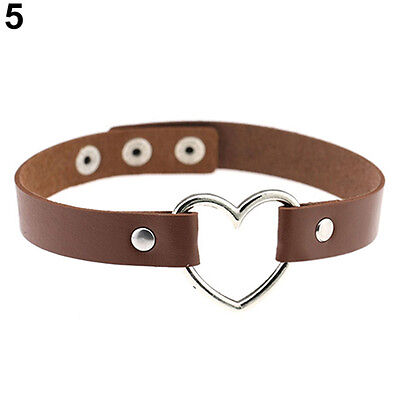 Women Favorite Punk Goth  Leather Rivet Heart Ring Collar Choker Funky Necklace
