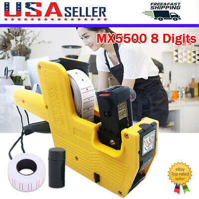 Mx5500 8 Digits Price Tag Sticker Gun 10 Rolls 5000pcs White Labels Paper Refill