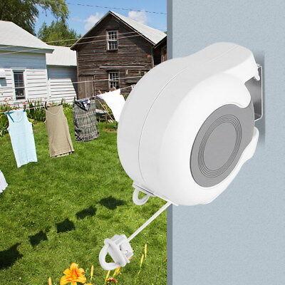 13m Clothes Drying Rack 2 Line Retractable Outdoor Indoor Dryer Laundry Hanger
