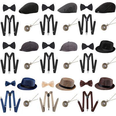 Men's 20's 1920s Gatsby Gangster Costume Accessories Set Panama Hat Suspenders](1920 Gatsby Men)