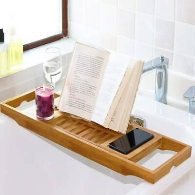 Extendable Bath Tray Caddy Over Bathtub Rack Shelf Phone Wine Glass Soap Holder