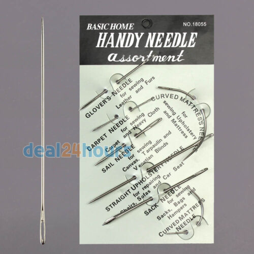 7pcs VERY100 Upholstery Carpet Leather Canvas Repair Curved Hand Sewing Needles Kit