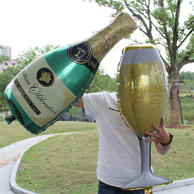 2pcs Foil Balloons Champagne Bottle Wedding Birthday Christmas Party Decor - Birthday Champagne