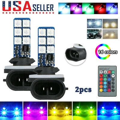 2PCS 16 Colors 881 5050 RGB LED 12SMD Car Headlight Fog Light Lamp Bulb + Remote