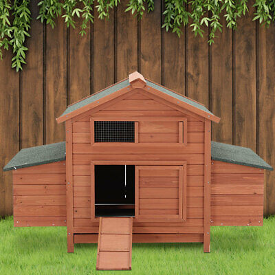 Large Chicken Elevated Coop Hen Poultry Ark House with Nest Box Lift Up Lid Roof