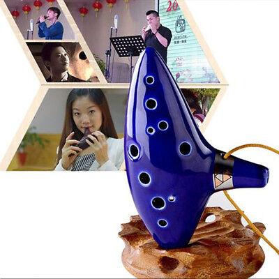 Blue Ocarina Ceramic Alto C Legend of Zelda Ocarina Flute Instrument -12 Hole
