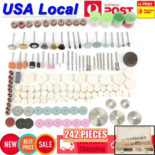 242Pcs Rotary Tool Accessories Bit Set Polishing Kit For Dre