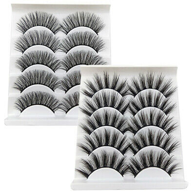 5 Pairs Handmade Natural False Eyelashes Long Thick Lashes Extension Eye Makeup Eyes
