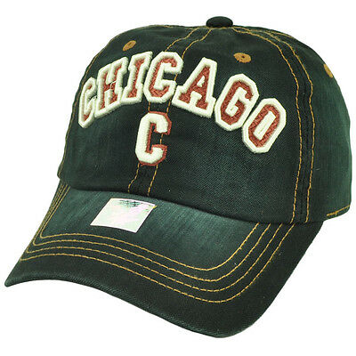 Chicago Chi Town Windy City Illinois Black Relaxed Hat Cap USA Sun Buckle Faded (Usa Windy City)