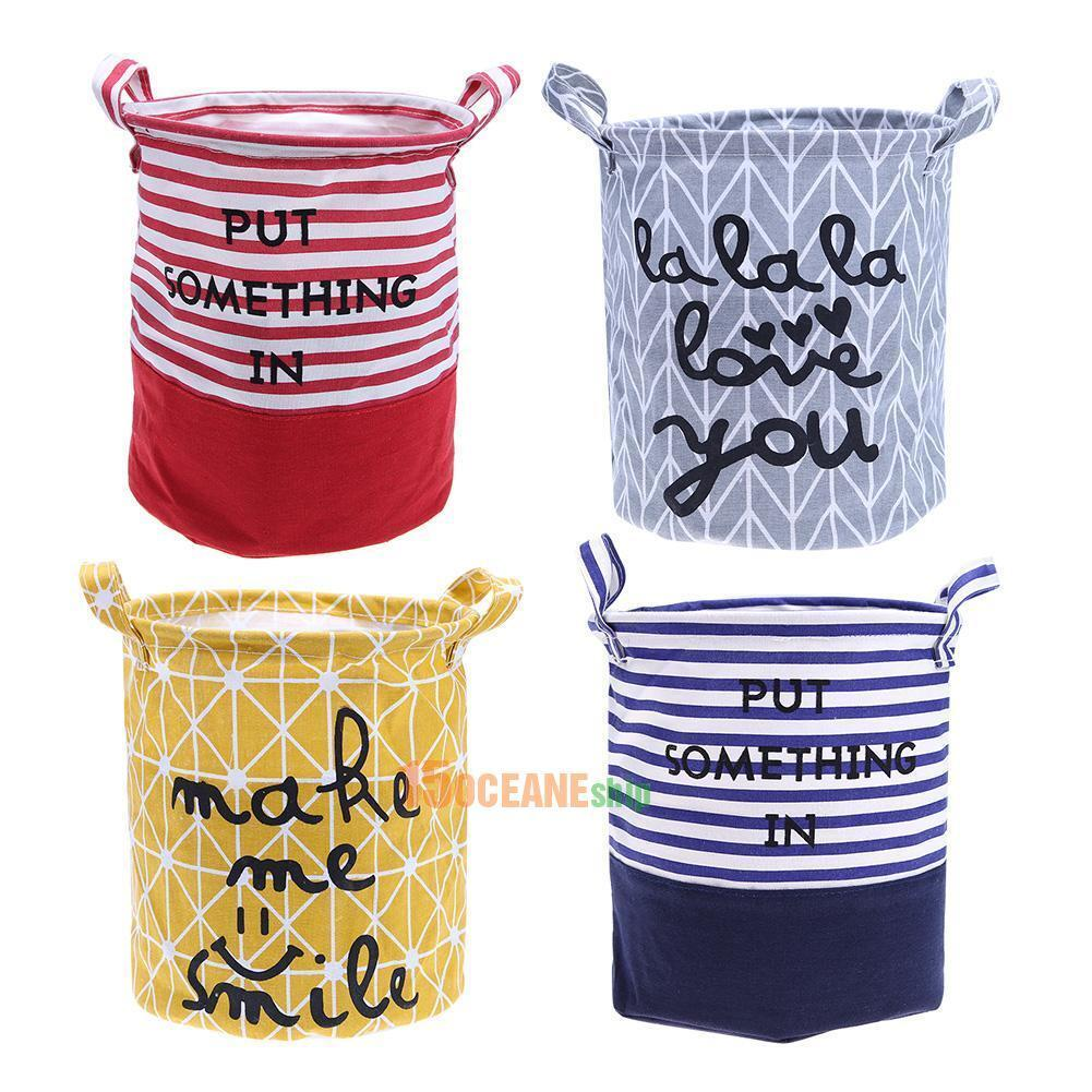 Foldable Washing Laundry Basket Hamper Bag Cotton Linen Clot