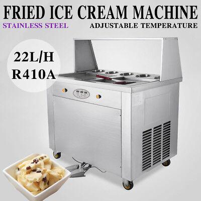 Thai Fried Ice Cream Maker Roll Ice Cream Machine W Temperature Control Panel