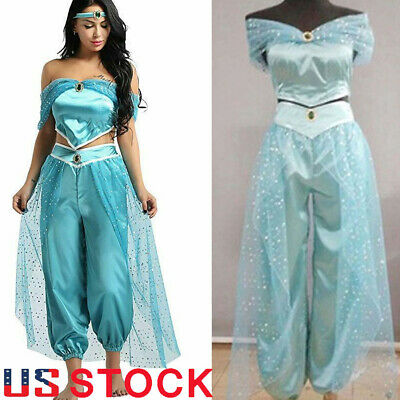 Aladdin Jasmine Princess Cosplay Women Girl Outfits Fancy Dress Up Party Costume