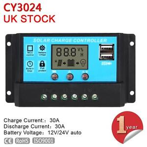 12V - 24V 30A LCD Display PWM Solar Panel Battery Regulator Charge Controller JS