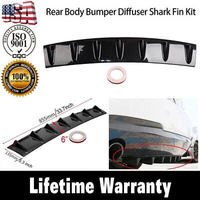 Universal 33 x6 ABS Shark Fin 7 Wing Lip Diffuser Rear Bumper Chassis Black US