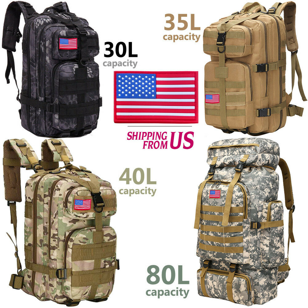 30L/35L/40L/80L Military Outdoor Tactical Shoulder Backpack Camping Hiking Bag