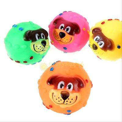 Puppy Pet Cat Dog Face Squeaky Squeaker Sound Soft Rubber Play Ball Fun Chew Toy Balls Soft Dog Chew Toy