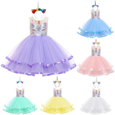 Flower Girls Unicorn Princess Tutu Dress for Kids Birthday Party Costume - Flower Costume For Kids