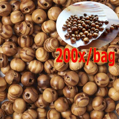 200pcs Natural BurlyWood Brown Beads Wooden Round Bead Craft
