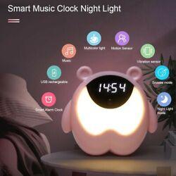 Cute Bear Alarm Clock Night Light RGB Wake Up Light With Music Children's Room S