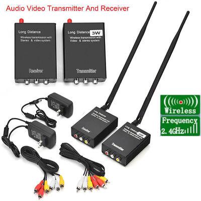 - 2.4GHz Wireless 12V 3W Audio Video AV Transmitter Sender and Receiver AV DVD DVR