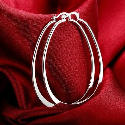 Womens 925 Silver Elegant Oval Shaped Extra Large Hoop Earrings #E45