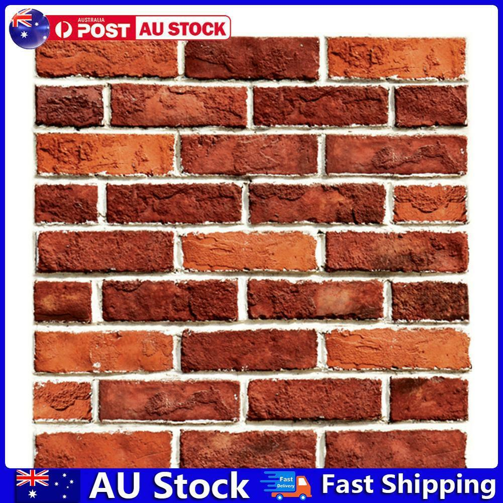 Home Decoration - 3D Rustic Red Brick Stone Wall Decals Self-Adhesive Home Room Sticker Decor AU