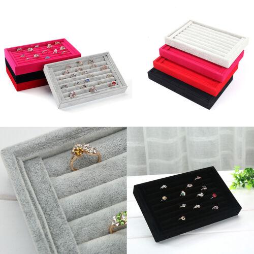 US 1-2 Pc Velvet Jewelry Ring Display Organizer Tray Holder Earring Storage Case