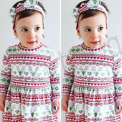 Hot Cute Baby Girls Xmas Christmas Dress Toddler Kid Casual Dresses Clothes - Cute Christmas Dress