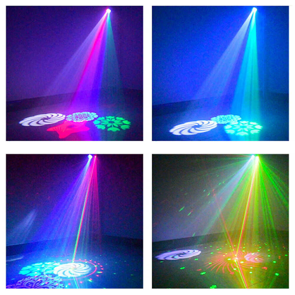 RGBW 4 LED Pattern Stage Light RG Laser Wireless Remote Sound DJ Home Party Show - $34.29