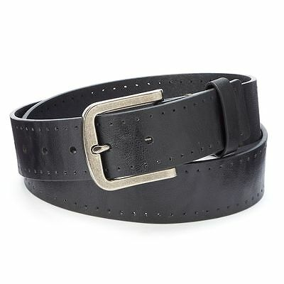New Tony Hawk Men's Bonded Leather Belt Black 1.5-in Width Orig. Retail $20