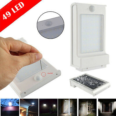 49LED Solar Power Motion Sensor Garden Security Lamp Outdoor Light Waterproof US