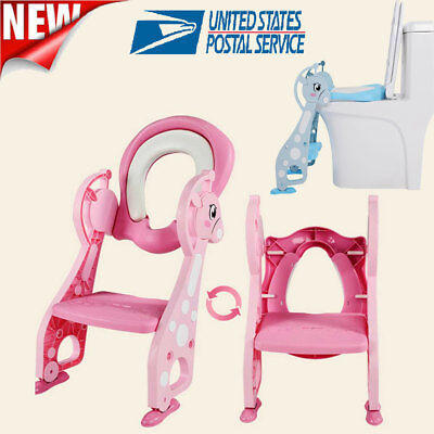 Kids Potty Training Seat with Step Stool Ladder Toilet Chair for Child Toddler