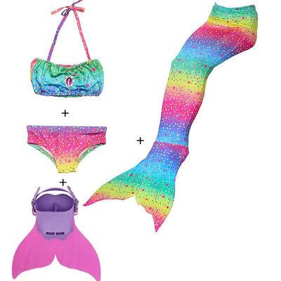 Rainbow Swimmable Mermaid Tails Bikini sets fin monofin kids girls boys cos - Kids Cos