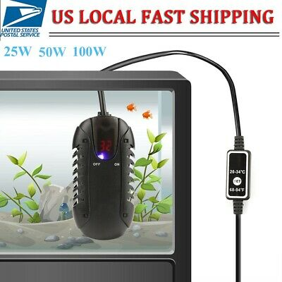 25W-100W Mini Aquarium Heater Submersible Fish Tank Adjustable Water Thermostat