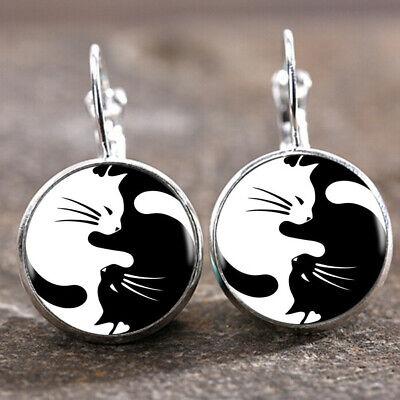 Yin Yang Cat Silver Trendy Glass cabochon 18 MM Lever Back Earrings For Women's Back Cat Earrings