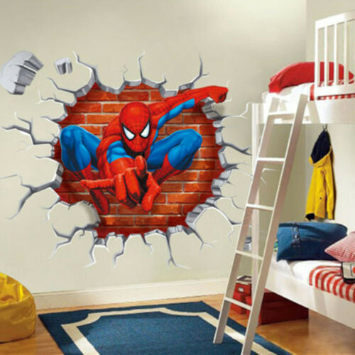 Home Decoration - 3D Spiderman Wall Sticker Kid Boys Bedroom Decor Removable Mural Paper From US