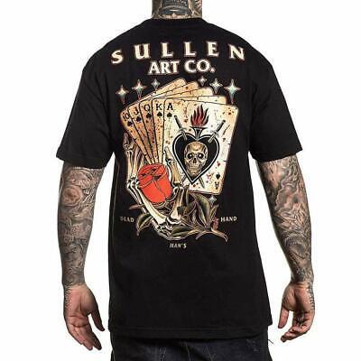 Sullen Men's Dead Mans Hand Short Sleeve T-shirt Tattoo Skull and Rose Cards Tee - Skull And Roses Tattoo Sleeve