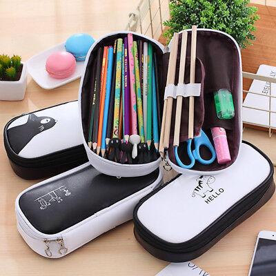 Cartoon School Pencil Case Bag Large Capacity Pen Box Stationery Supply New