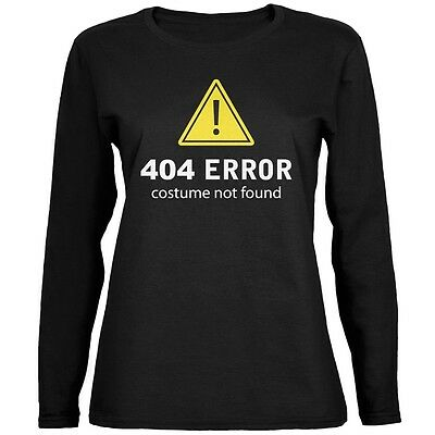 Halloween 404 Costume Not Found Black Womens Long Sleeve - 404 Halloween Costume Not Found