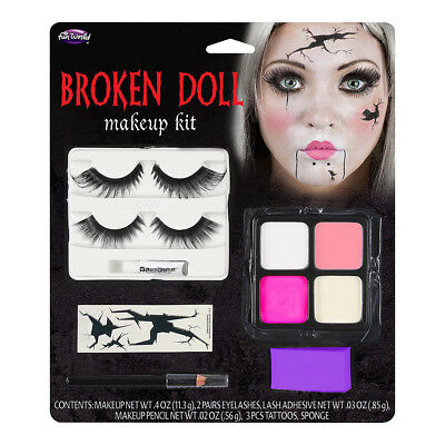 oll Horror Eyelashes Make Up Kit - Halloween Fancy Dress (Broken Doll Make-up)