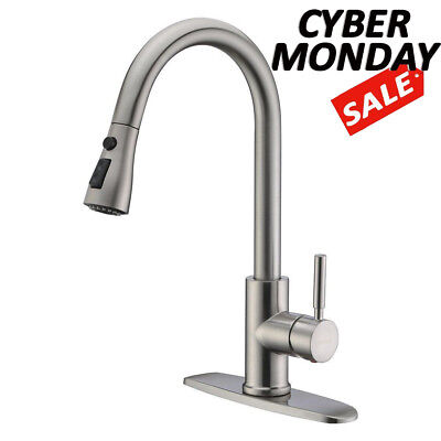 WEWE Choose Handle Kitchen Sink Faucet Pull Out Spray Brushed Nickel With Cover