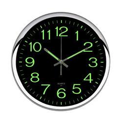 12'' Large Quartz Wall Clock Non Ticking Luminous Number Night Light Room Office