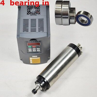 1.5kw Water Cooled Spindle Motor Er16 80mm Four Bearing Drive Inverter Vfd Cnc