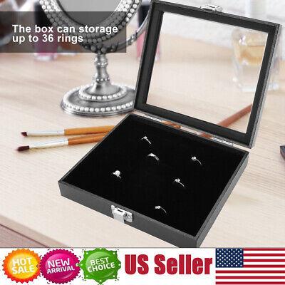 36Grid Jewelry Ring Display Organizer Box Tray Holder Earring Storage Case Black
