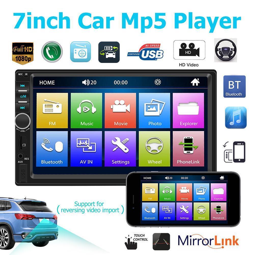 7018B Bluetooth 7'' Car MP5 Player FM Radio HD 1080P Rear Vi