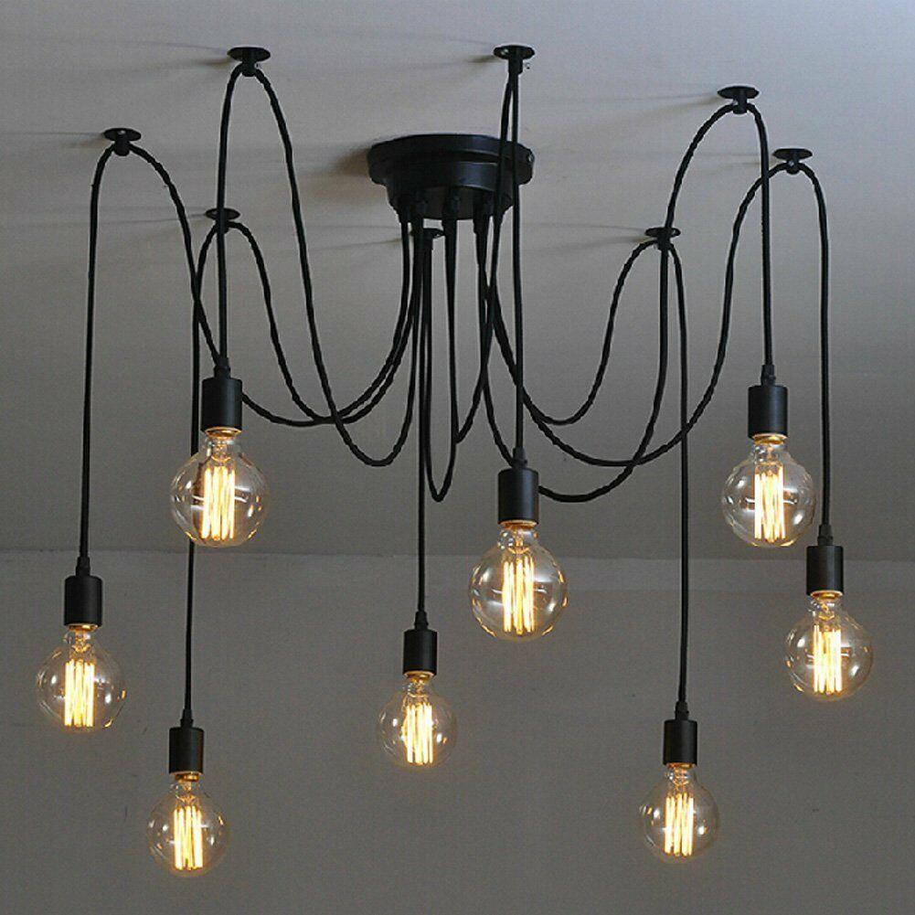 loft retro spider chandelier light diy edison ceiling pendant
