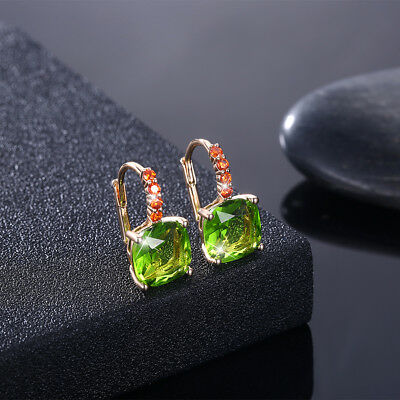 PERIDOT EARRINGS~14 K YELLOW GOLD PLATED Made with Swarovski Crystals ()