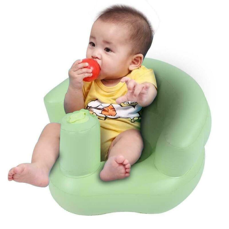 Kids Toy Built In Pump Bath Seat Sofa Baby Inflatable Chair Safety Green