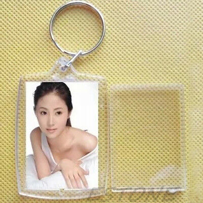 Clear Keychain (10 Transparent Blank Insert Photo Picture Frame Keyring Split Ring Keychain)